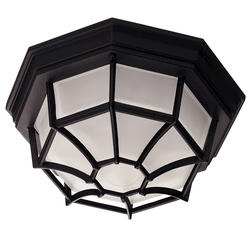 Photon 1-Light 5'' Black Fluorescent Flush Mount With Frosted Glass