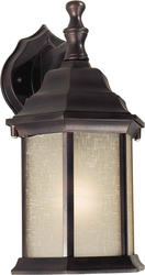 Photon 1-Light 12'' Antique Bronze Finish Incandescent Outdoor Wall Lantern with Umber Linen Glass Panels
