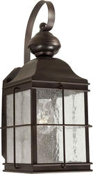 Photon 1-Light 13'' Antique Bronze Finish Incandescent Outdoor Wall Lantern with Clear Seeded Glass Panels