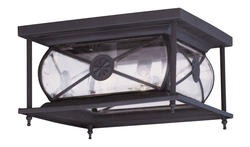 Photon 2-Light 6'' Bronze Incandescent Outdoor Flush Mount With Clear Beveled Glass
