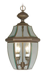Photon 2-Light 19'' Imperial Bronze Incandescent Outdoor Pendant With Clear Beveled Glass