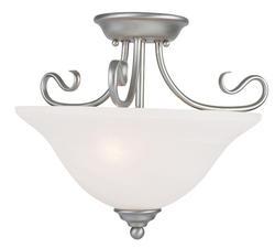 Photon 2-Light 12'' Brushed Nickel Incandescent Flush Mount With White Alabaster Glass