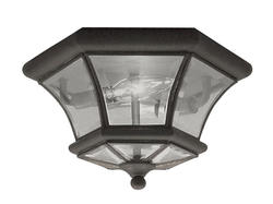 Photon 2-Light 7'' Bronze Incandescent Flush Mount With Clear Beveled Glass