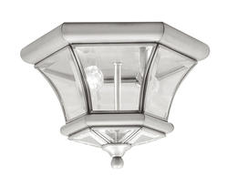 Photon 2-Light 7'' Brushed Nickel Incandescent Flush Mount With Clear Beveled Glass