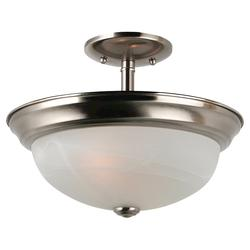 Seagull Lighting 2-Light 11'' Brushed Nickel 2 GU24 Self Ballasted PLS13 13w Fluorescent Ceiling Fixture with Alabaster Glass
