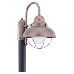 Seagull Lighting 1-Light 15'' Weathered Copper Incandescent Outdoor Post Lantern with Clear Seeded Glass
