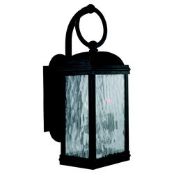 Seagull Lighting 2-Light 17'' Obsidian Mist Incandescent Outdoor Wall Lantern with Seeded Water Glass