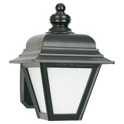 Seagull Lighting 1-Light 9'' Black 1 GU24 Self Ballasted PLS13 13w Outdoor Wall Lantern with White Smooth Glass