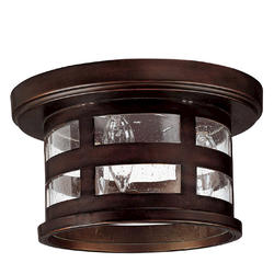 Photon 3-Light 10.5'' Burnished Bronze Incandescent Outdoor Flush Mount with Seeded Glass