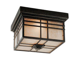 Ashley Harbour 2-Light 11.50'' Imperial Bronze Incandescent Outdoor Flush Mount with Tinted Frost Glass