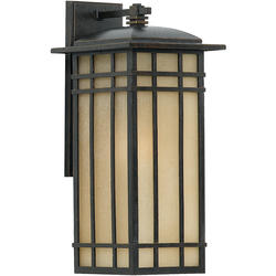 Ashley Harbour 1-Light 12.75'' Imperial Bronze Fluorescent Outdoor Wall Sconce with Tinted Frost Glass