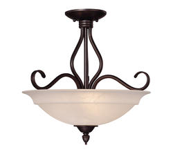 Photon 3-Light 16.5'' English Bronze Incandescent Semi-Flush With Cream Faux Alabaster Glass