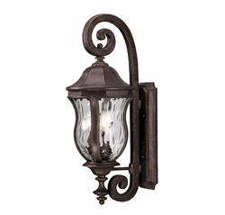 Photon 3-Light 28'' Walnut Patina Incandescent Wall Mount Lantern With Clear Watered Glass