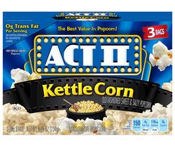 Act II Kettle Corn Microwave Popcorn - 3-pk