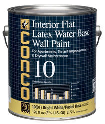 Conco 10 Flat Bright White/Pastel Water-Based Interior Latex Wall Paint - 1 gal.