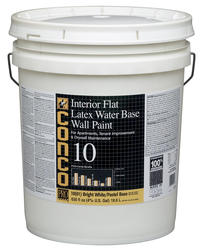 Conco 10 Flat Bright White/Pastel Water-Based Interior Latex Wall Paint - 5 gal.