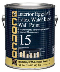 Conco 15 Flat Bright White/Pastel Water-Based Interior Acrylic Wall Paint - 1 gal.
