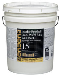 Conco 15 Flat Bright White/Pastel Water-Based Interior Acrylic Wall Paint - 5 gal.