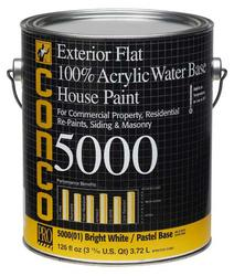 Conco 5000 Flat Water-Based Exterior 100% Acrylic House Paint - 1 gal.