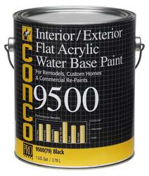 Conco 9500 Flat Black Water-Based Interior/Exterior Acrylic Paint - 1 gal.