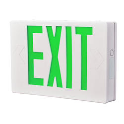 "All-Pro 12"" White/Green LED AC-Powered EXIT Sign"