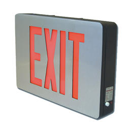 "Surelites 12.6"" Nickel/Red LED Battery Exit Sign"