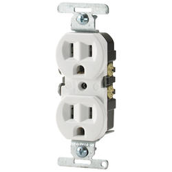 Duplex Outlet for Copper/Aluminum Wiring 15A 125V, White