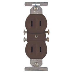 Duplex Outlet Straight Blade 15A 125V, Brown