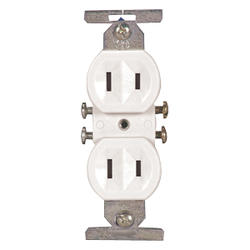 Duplex Outlet Straight Blade 15A 125V, White