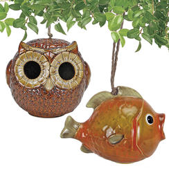 Ceramic Fish or Owl Birdhouse (Assorted Styles)