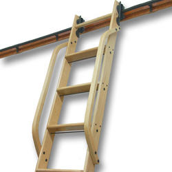 QuietGlide™ Wooden Rolling Ladder Hand Rail