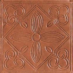 "Saltillo Floor or Wall Quarry Decorative Accent Floral 8"" x 8"""