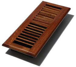 """4"""" x 12"""" Wood Louvered Natural Cherry Register"""