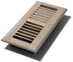 "4"" x 10"" Louvered Maple Unfinished Register"