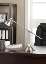 "Sunbeam 17"" Adjustable Height Brushed Steel LED Desk Lamp"