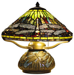 "Patriot Lighting Dragonfly 16"" H Antique Bronze Tiffany Table Lamp"