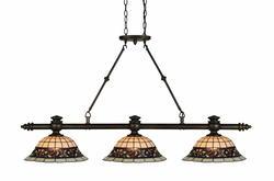"Patriot Lighting Elegant Home Mansfield 3-Light 49.75"" W Bronze Tiffany Island Light"
