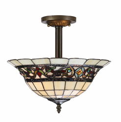 "Patriot Lighting Elegant Home Mansfield 2-Light 12"" H Bronze Semi-Flush Mount Light"