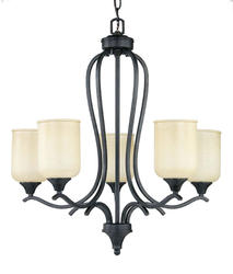 "Patriot Lighting Winchester 5-Light 26"" H Black Gold Chandelier"