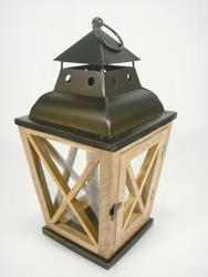 "Enchanted Garden™ 15"" Wood with Glass Lantern"