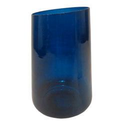 """11"""" Blue Tube Glass Vase"""