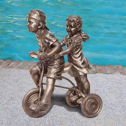 Bike Riding Buddies Children Statue