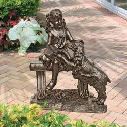 Girl and Dog on a Bench Statue