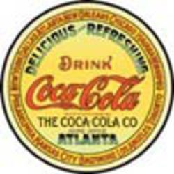 Desperate Enterprises COKE - Round Keg Label Sign