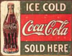 Desperate Enterprises COKE - c. 1916 Ice Cold Sign