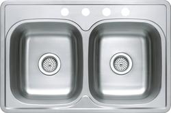 "Tuscany 8"" Stainless Steel Double-Bowl Kitchen Sink"