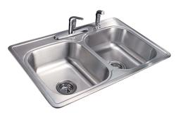 "Tuscany 7"" Double-Bowl Stainless Steel Kitchen Sink Kit"