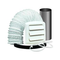 "Dundas Jafine Wall Style Bathroom Fan Vent Kit with 4"" x 5' Vinyl Duct"