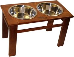 "12"" Tall Oak Dynamic Accents Elevated Pet Feeder - Mahogany"