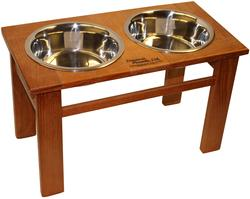 "12"" Tall Oak Dynamic Accents Elevated Pet Feeder - Burnished Oak"